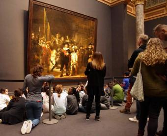 The full size painting and visitors